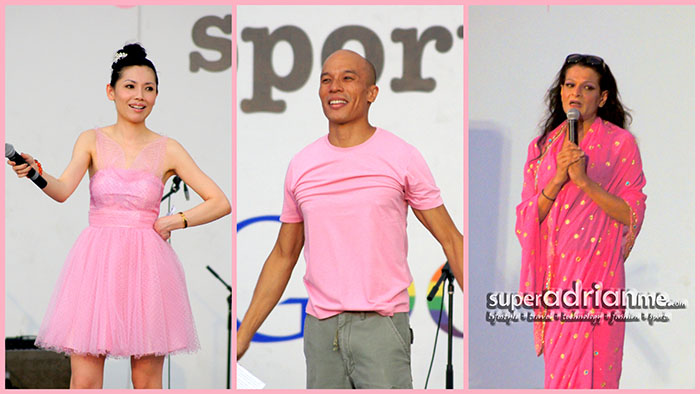 Pink Dot 2012 Ambassadors - former TV personality Sharon Au, actor Lim Yu Beng and comedian Kumar